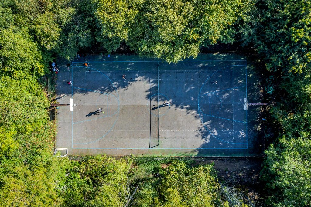 The basketball court at Brockwood Park School seen from above