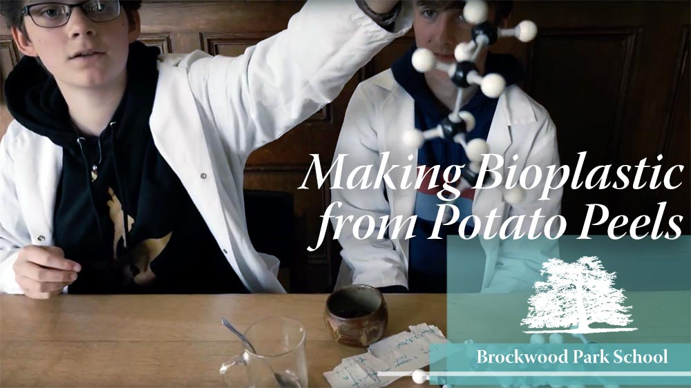 Video Overlay – Making bioplastic from potato peels at Brockwood Park School