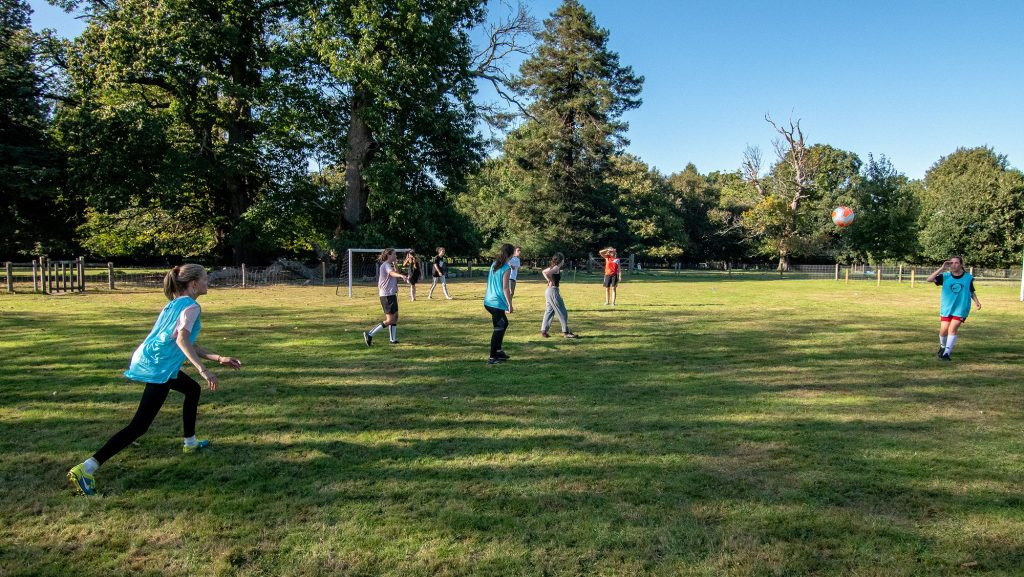 Students playing sports at Brockwood Park School