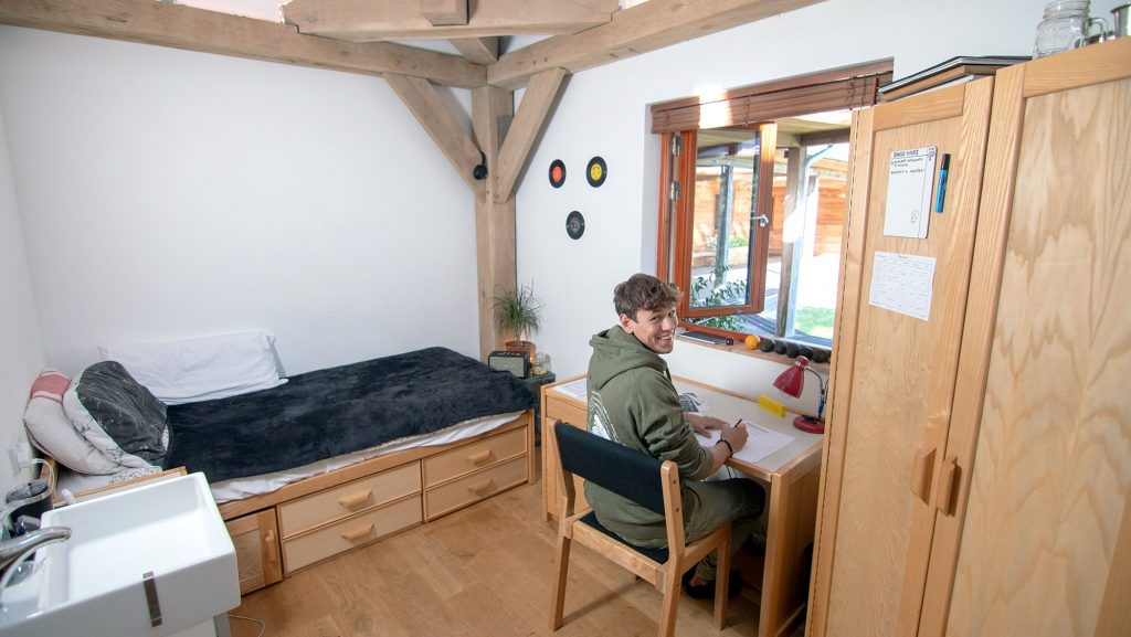 A student in his accommodation at Brockwood Park School