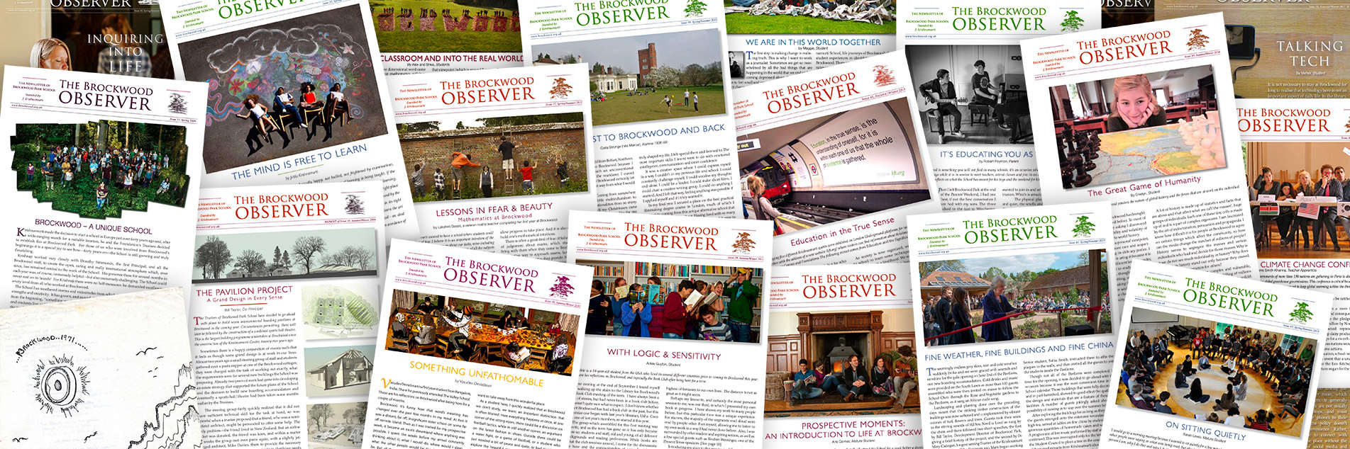 Composite image of the Brockwood Observer, Brockwood Park School's magazine