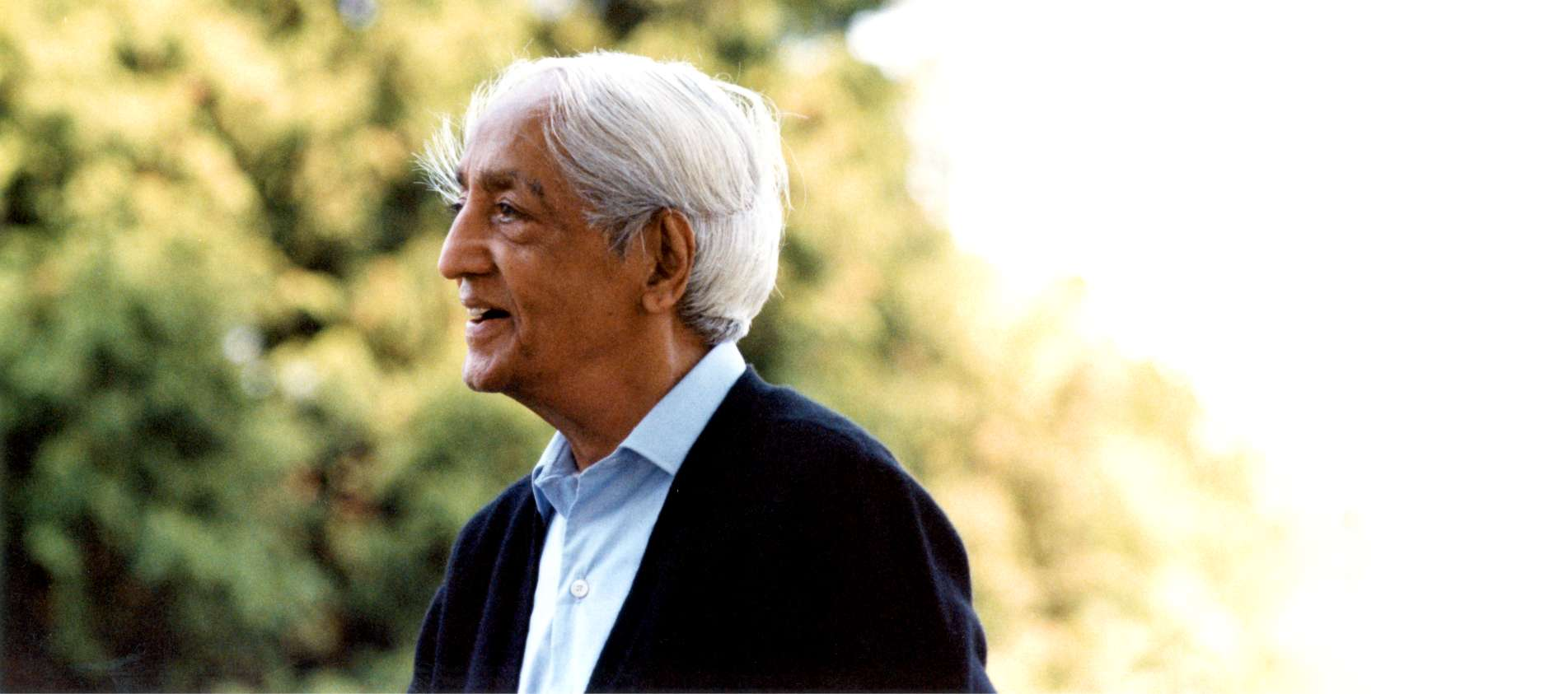 A portrait of J Krishnamurti founder of Brockwood Park School