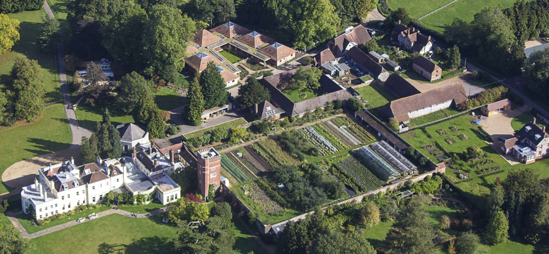 Aerial view of Brockwood Park School, Hampshire, UK