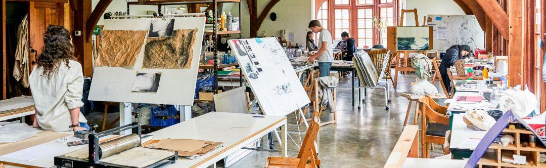 Brockwood Park School students making art in the art barn