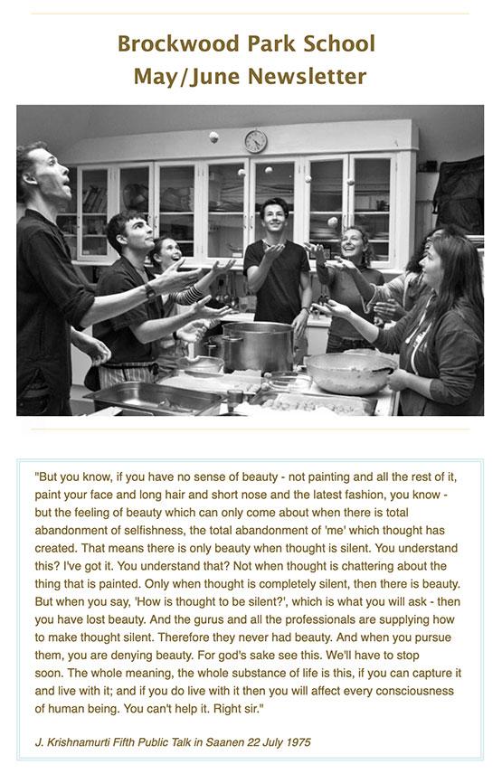 Example of Brockwood Park School's monthly newsletter