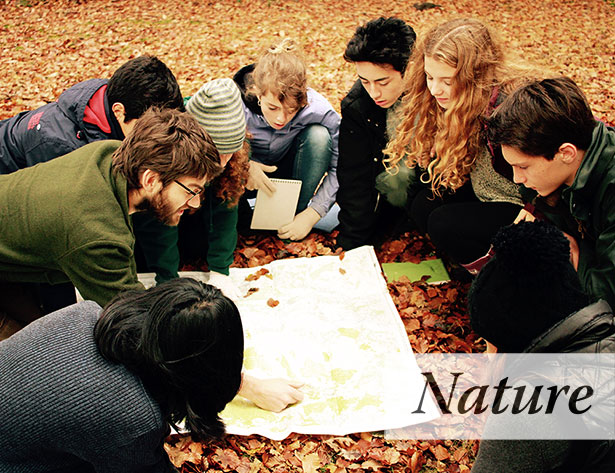 Brockwood Park School students navigating the outdoors in Autumn