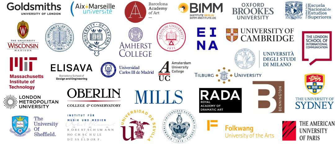 A composite image showing dozens of logos of rwnown universities