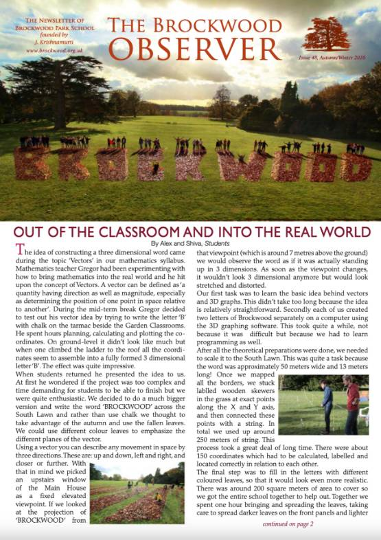 The Brockwood Park School Observer – 2016 AW