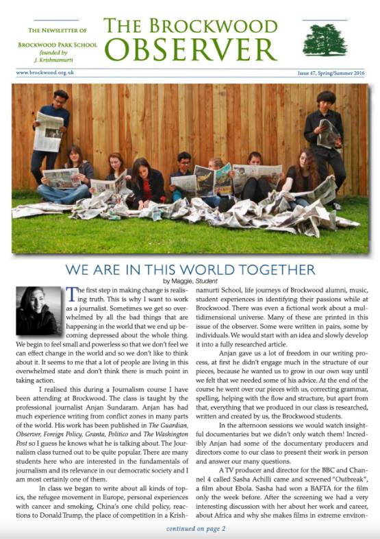 The Brockwood Park School Observer – 2016 SS