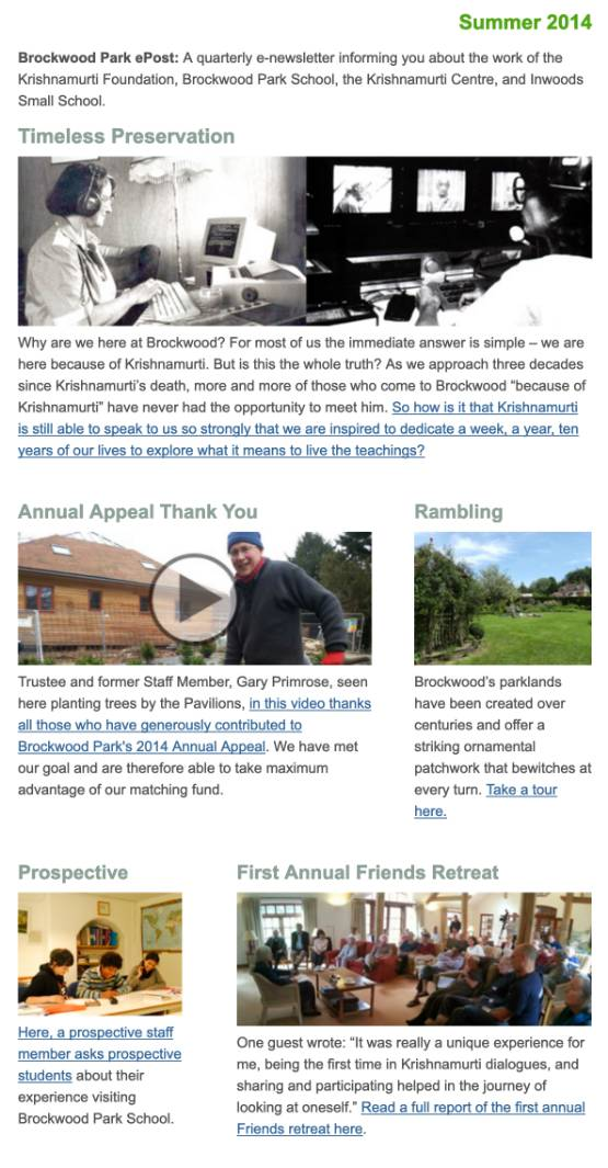 Brockwood Park News – Summer 2014